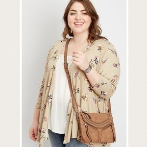 Maurices Tan Floral Open Cardigan Plus 0